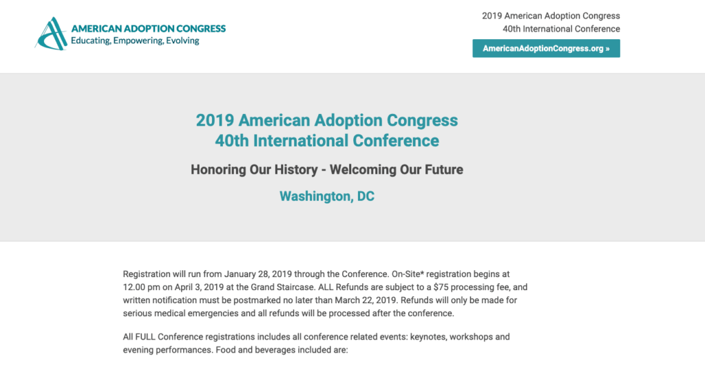 american adoption congress website screenshot