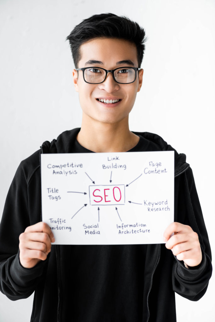 Man holding a paper with SEO written on it